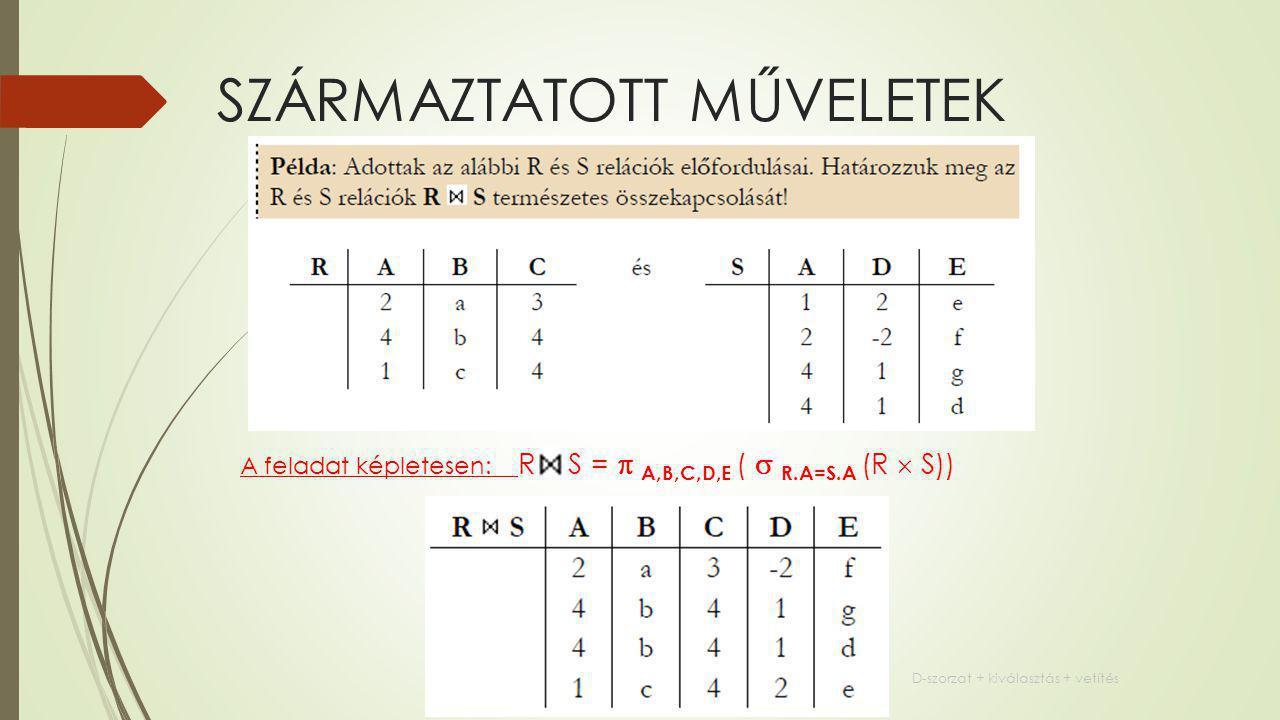 SZÁRMAZTATOTT MŰVELETEK A feladat képletesen: R S =  A,B,C,D,E (  R.A=S.A (R  S)) D-szorzat + kiválasztás + vetítés