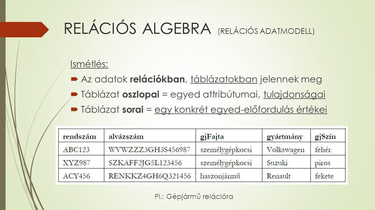 RELÁCIÓS ALGEBRA (RELÁCIÓS ADATMODELL) Ismétlés:  Az adatok relációkban, táblázatokban jelennek meg  Táblázat oszlopai = egyed attribútumai, tulajdo