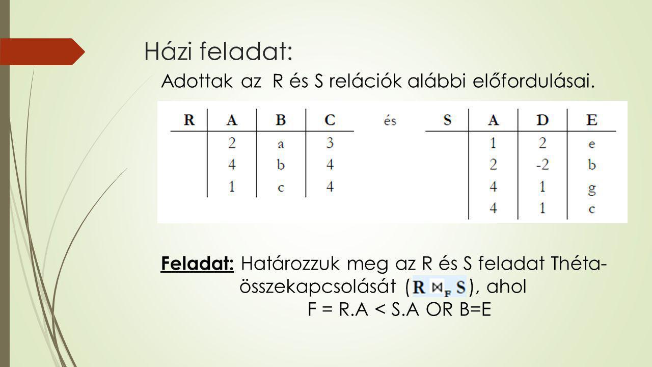 Házi feladat: Adottak az R és S relációk alábbi előfordulásai. Feladat: Határozzuk meg az R és S feladat Théta- összekapcsolását ( ), ahol F = R.A < S