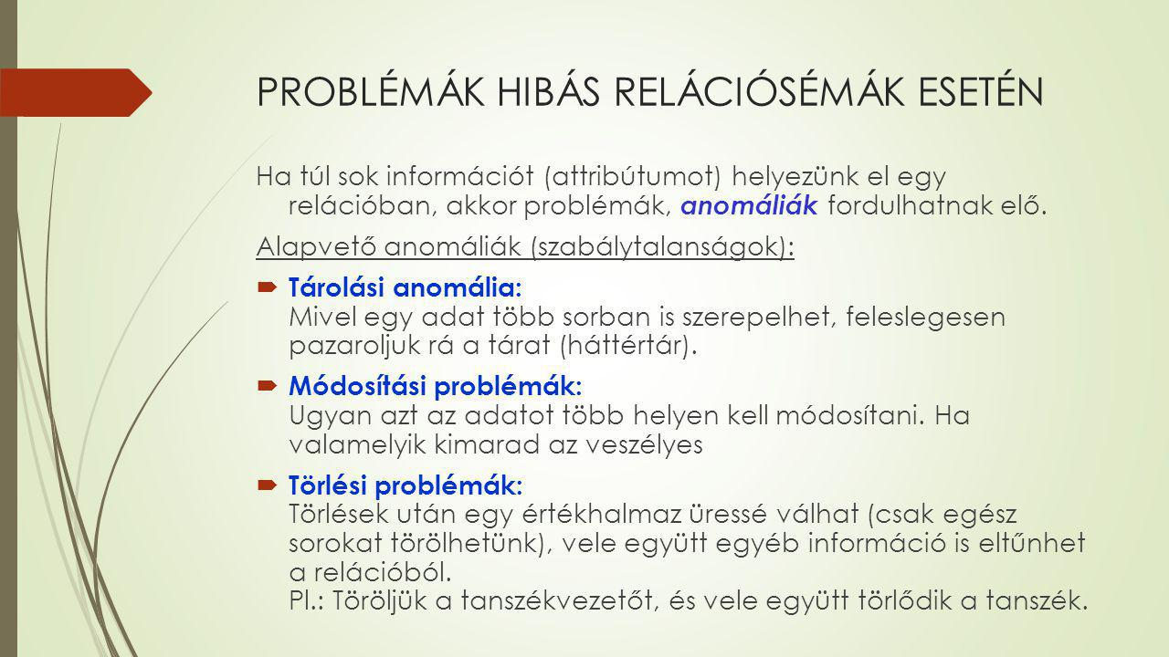 PROBLÉMÁK HIBÁS RELÁCIÓSÉMÁK ESETÉN Ha túl sok információt (attribútumot) helyezünk el egy relációban, akkor problémák, anomáliák fordulhatnak elő. Al
