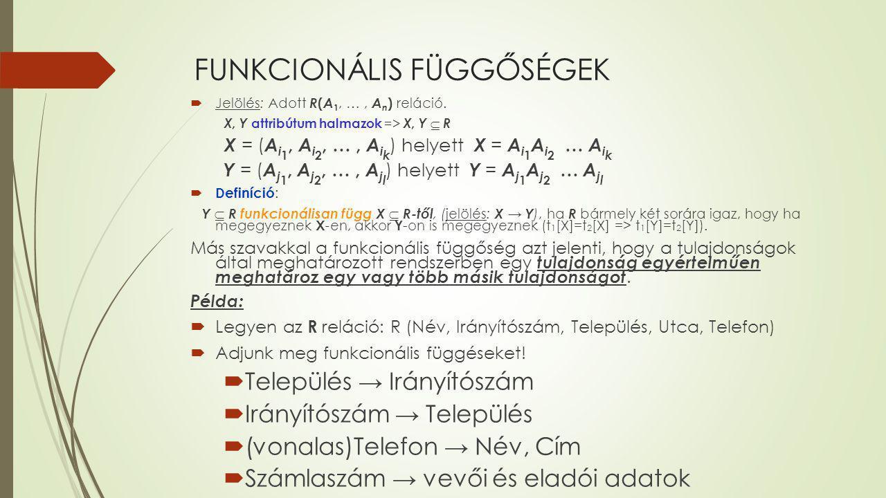 FUNKCIONÁLIS FÜGGŐSÉGEK  Jelölés: Adott R ( A 1, …, A n ) reláció. X, Y attribútum halmazok => X, Y  R X = ( A i 1, A i 2, …, A i k ) helyett X = A