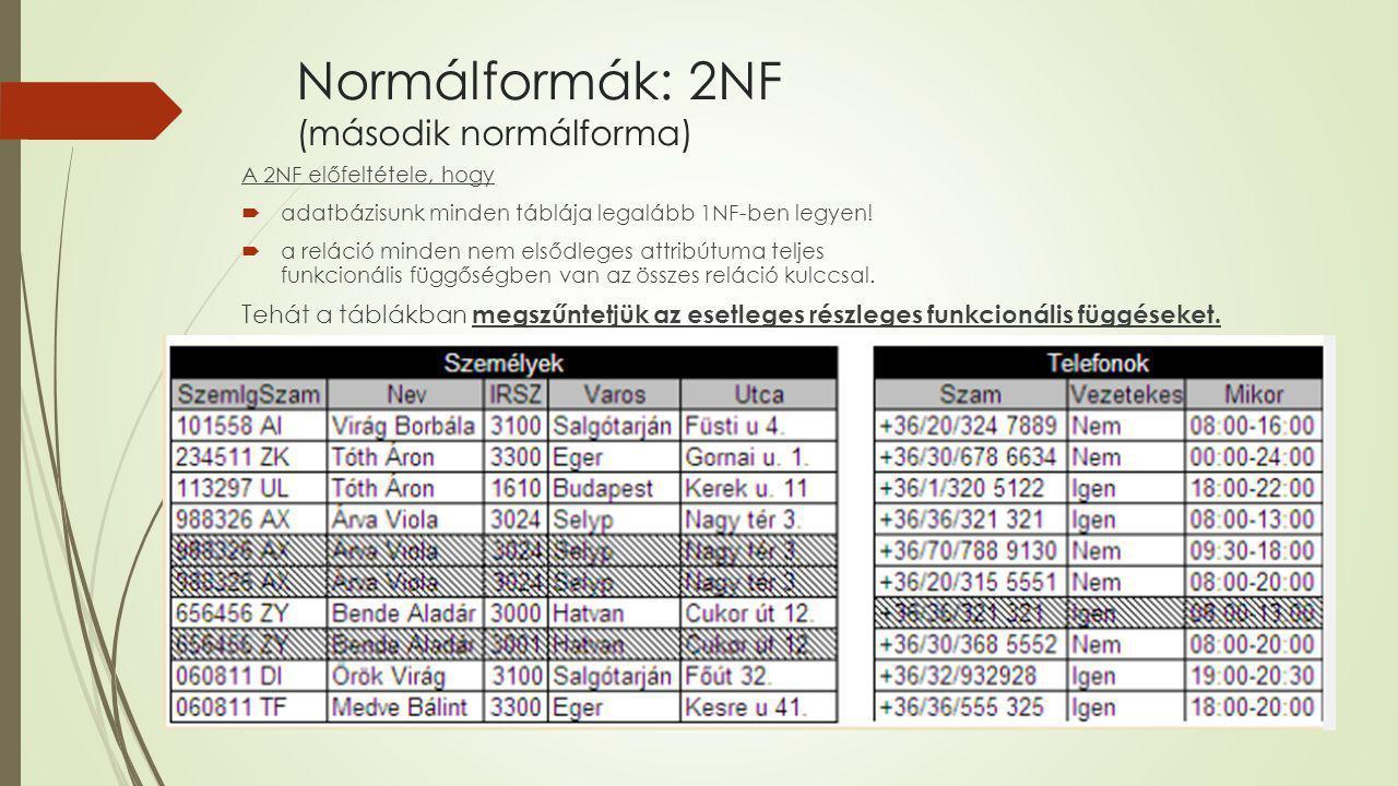 Normálformák: 2NF (második normálforma) A 2NF előfeltétele, hogy  adatbázisunk minden táblája legalább 1NF-ben legyen!  a reláció minden nem elsődle