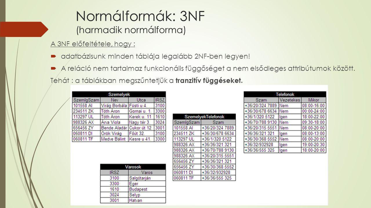 Normálformák: 3NF (harmadik normálforma) A 3NF előfeltétele, hogy :  adatbázisunk minden táblája legalább 2NF-ben legyen!  A reláció nem tartalmaz f