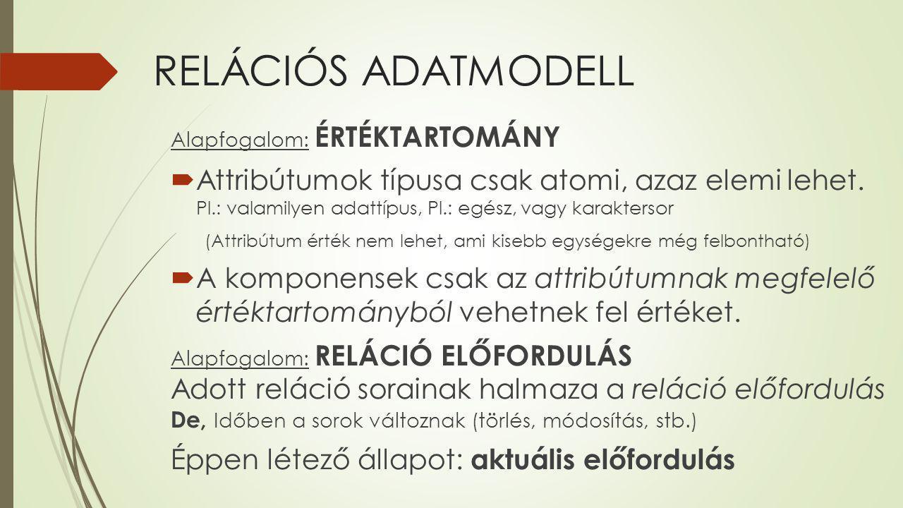 RELÁCIÓS ADATMODELL Alapfogalom: RELÁCIÓS ALGEBRA  A relációs algebrai kifejezések alapjait a relációk képezik, mint operandusok.
