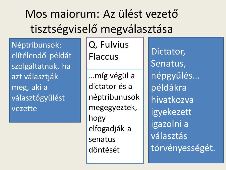 Mos maiorum: Az ülést vezető tisztségviselő megválasztása Q. Fulvius Flaccus Néptribunsok: elítélendő példát szolgáltatnak, ha azt választják meg, aki
