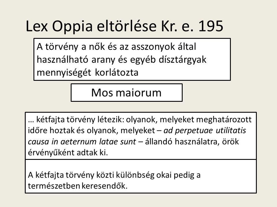 Lex Oppia eltörlése Kr. e. 195 A törvény a nők és az asszonyok által használható arany és egyéb dísztárgyak mennyiségét korlátozta … kétfajta törvény