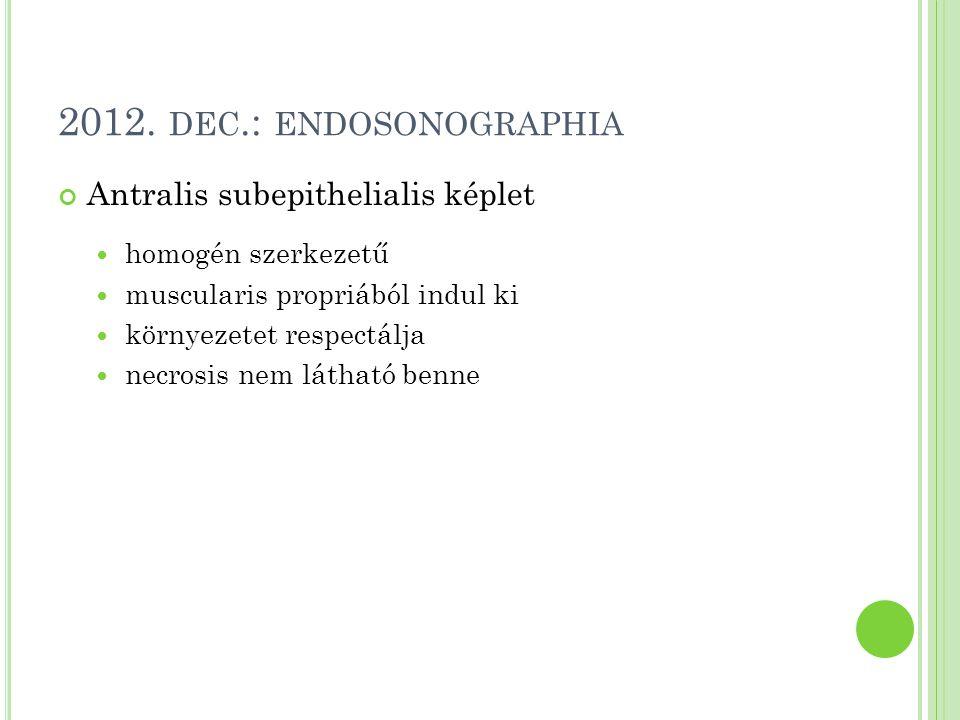 2012. DEC.: ENDOSONOGRAPHIA Antralis subepithelialis képlet homogén szerkezetű muscularis propriából indul ki környezetet respectálja necrosis nem lát