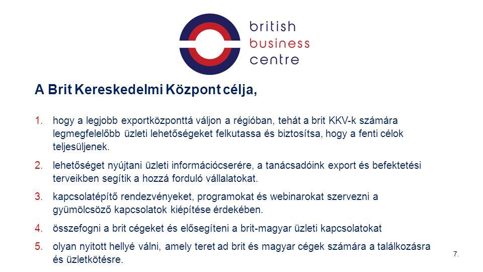 7 A Brit Kereskedelmi Központ célja, 1.hogy a legjobb exportközponttá váljon a régióban, tehát a brit KKV-k számára legmegfelelőbb üzleti lehetőségeket felkutassa és biztosítsa, hogy a fenti célok teljesüljenek.
