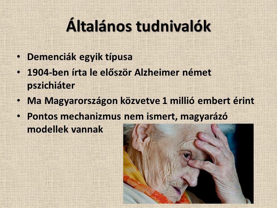 Általános tudnivalók Demenciák egyik típusa 1904-ben írta le először Alzheimer német pszichiáter Ma Magyarországon közvetve 1 millió embert érint Pontos mechanizmus nem ismert, magyarázó modellek vannak