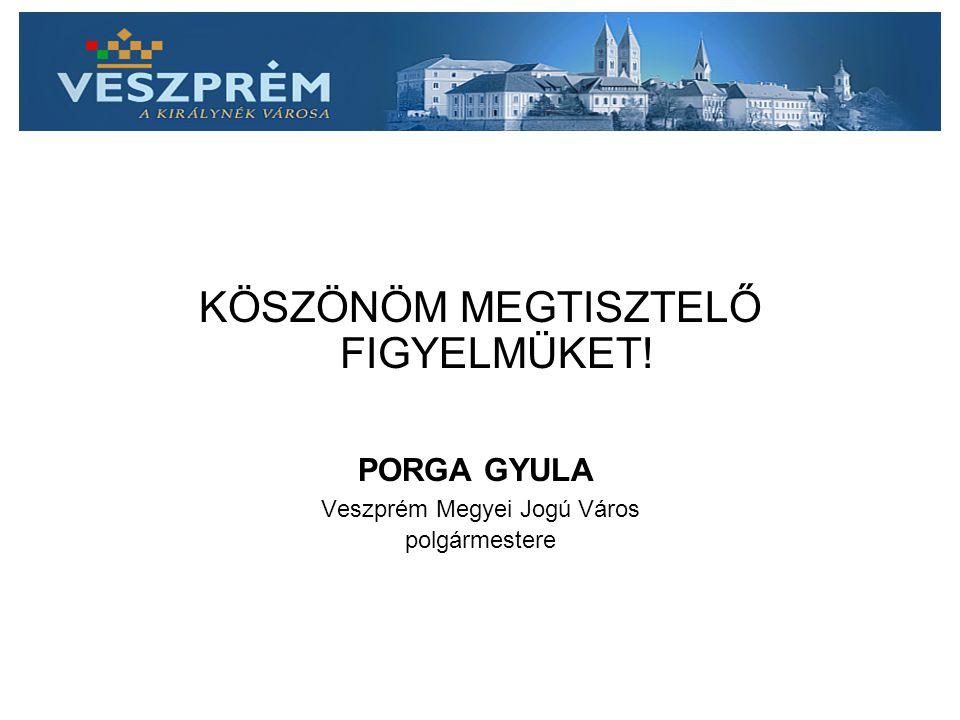 KÖSZÖNÖM MEGTISZTELŐ FIGYELMÜKET! PORGA GYULA Veszprém Megyei Jogú Város polgármestere