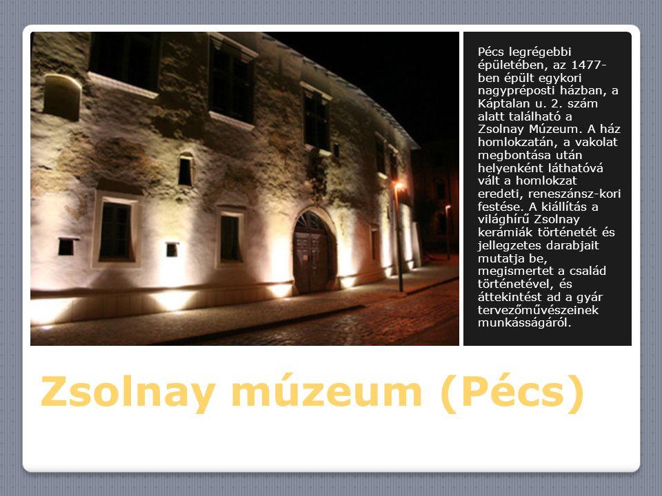 Zsolnay múzeum (Pécs) Pécs legrégebbi épületében, az 1477- ben épült egykori nagypréposti házban, a Káptalan u. 2. szám alatt található a Zsolnay Múze