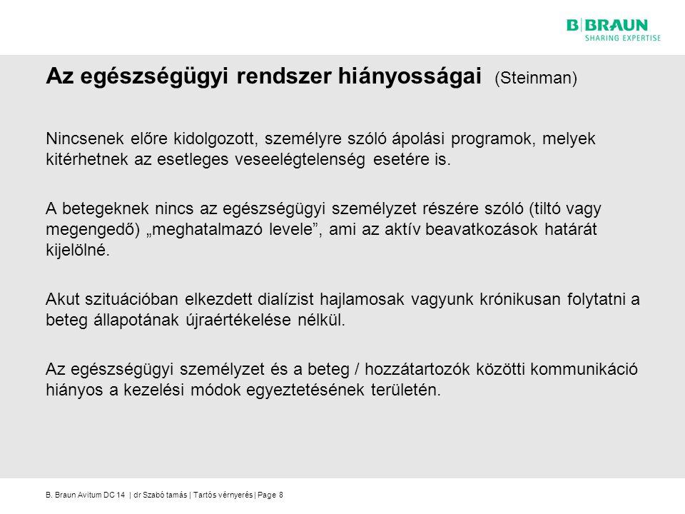 B. Braun Avitum DC 14 | dr Szabó tamás | Tartós vérnyerés | Page Az egészségügyi rendszer hiányosságai (Steinman) Nincsenek előre kidolgozott, személy