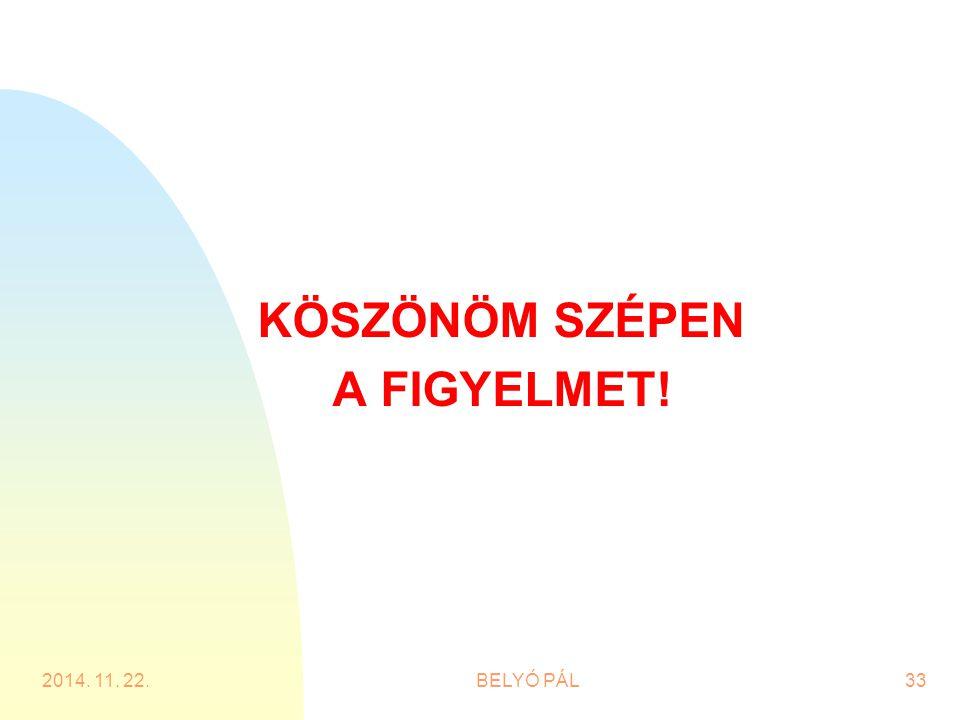 KÖSZÖNÖM SZÉPEN A FIGYELMET! 2014. 11. 22.BELYÓ PÁL33
