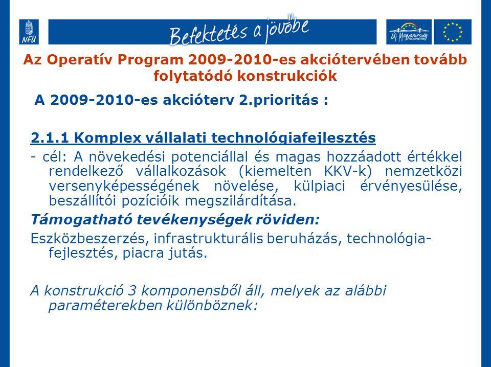 A 2009-2010-es akcióterv 2.prioritás : 2.1.1 Komplex vállalati technológiafejlesztés - cél: A növekedési potenciállal és magas hozzáadott értékkel rendelkező vállalkozások (kiemelten KKV-k) nemzetközi versenyképességének növelése, külpiaci érvényesülése, beszállítói pozícióik megszilárdítása.