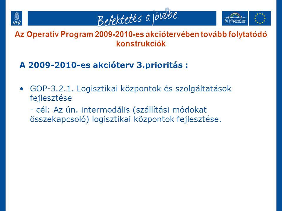 Az Operatív Program 2009-2010-es akciótervében tovább folytatódó konstrukciók A 2009-2010-es akcióterv 3.prioritás : GOP-3.2.1.