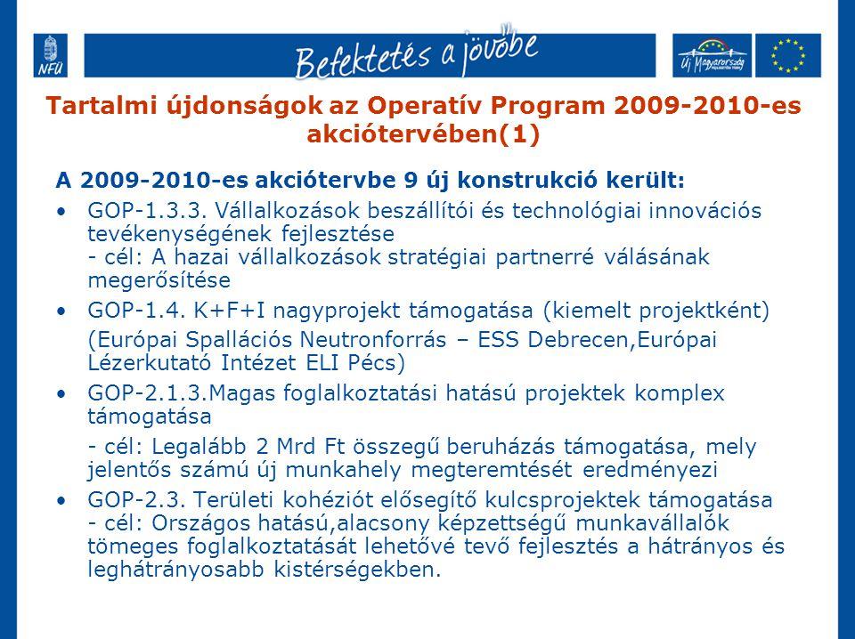 Tartalmi újdonságok az Operatív Program 2009-2010-es akciótervében(1) A 2009-2010-es akciótervbe 9 új konstrukció került: GOP-1.3.3. Vállalkozások bes