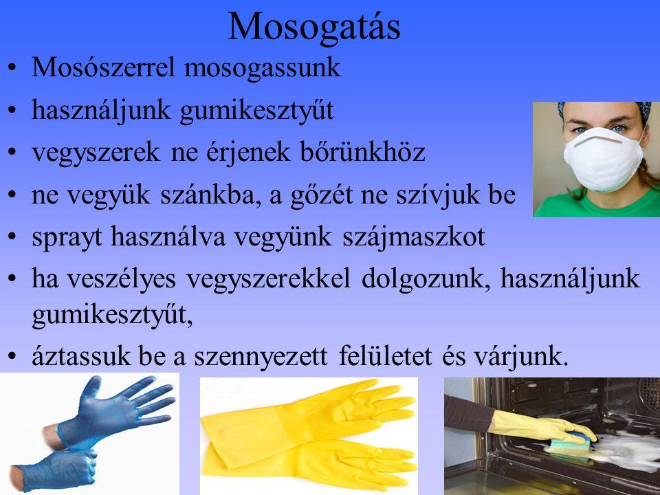 Mosogatás Mosószerrel mosogassunk használjunk gumikesztyűt vegyszerek ne érjenek bőrünkhöz ne vegyük szánkba, a gőzét ne szívjuk be sprayt használva v