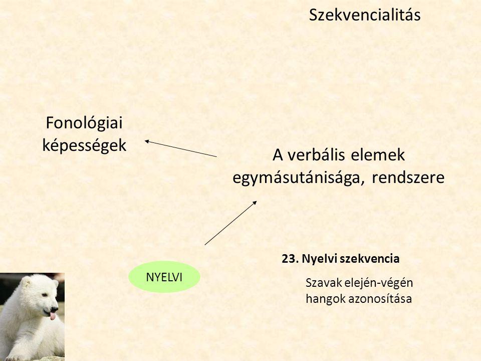 Szekvencialitás A verbális elemek egymásutánisága, rendszere Fonológiai képességek 23. Nyelvi szekvencia Szavak elején-végén hangok azonosítása NYELVI