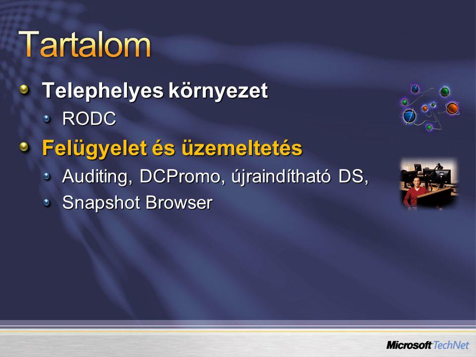 Telephelyes környezet RODC Felügyelet és üzemeltetés Auditing, DCPromo, újraindítható DS, Snapshot Browser