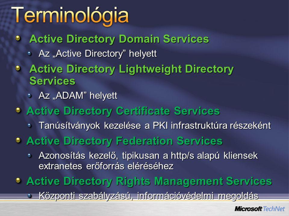 "Active Directory Domain Services Az ""Active Directory"" helyett Active Directory Lightweight Directory Services Az ""ADAM"" helyett Active Directory Cert"