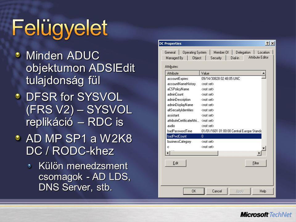 Minden ADUC objektumon ADSIEdit tulajdonság fül DFSR for SYSVOL (FRS V2) – SYSVOL replikáció – RDC is AD MP SP1 a W2K8 DC / RODC-khez Külön menedzsmen