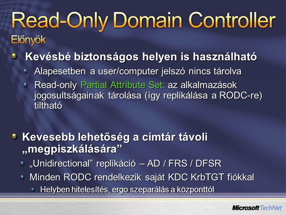 Kevésbé biztonságos helyen is használható Alapesetben a user/computer jelszó nincs tárolva Read-only Partial Attribute Set: az alkalmazások jogosultsá