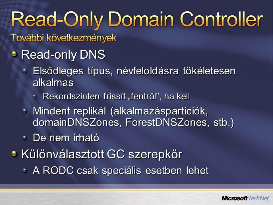 """Read-only DNS Elsődleges típus, névfeloldásra tökéletesen alkalmas Rekordszinten frissít """"fentről"""", ha kell Mindent replikál (alkalmazásparticiók, dom"""