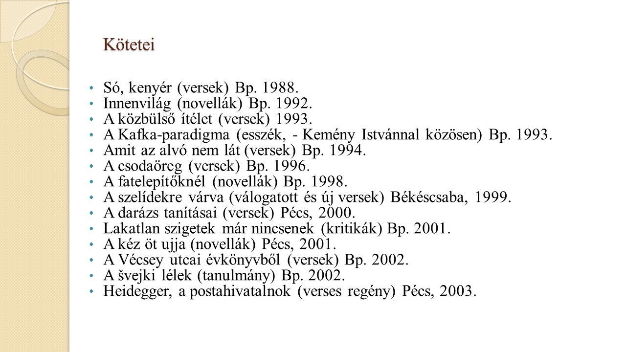Kötetei Só, kenyér (versek) Bp. 1988. Innenvilág (novellák) Bp. 1992. A közbülső ítélet (versek) 1993. A Kafka-paradigma (esszék, - Kemény Istvánnal k