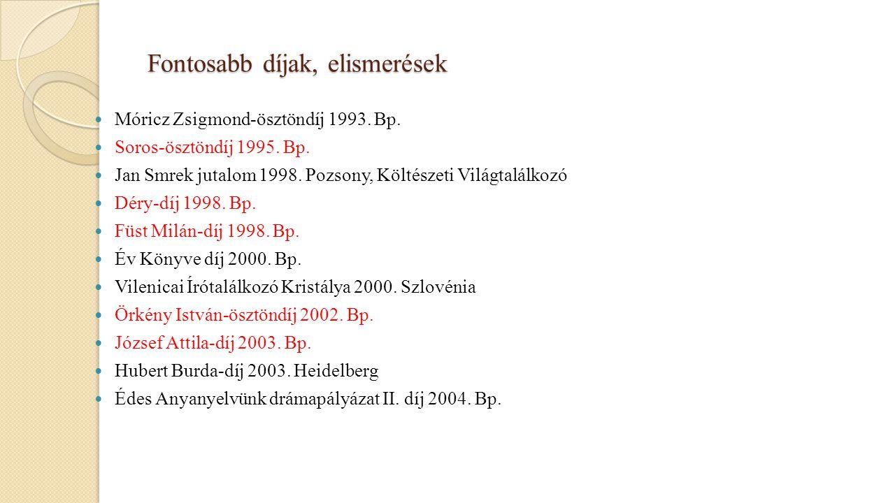 Fontosabb díjak, elismerések Móricz Zsigmond-ösztöndíj 1993. Bp. Soros-ösztöndíj 1995. Bp. Jan Smrek jutalom 1998. Pozsony, Költészeti Világtalálkozó