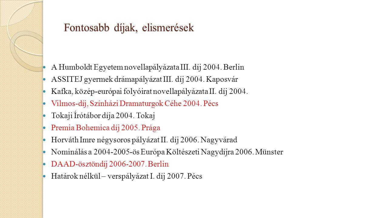 Fontosabb díjak, elismerések A Humboldt Egyetem novellapályázata III. díj 2004. Berlin ASSITEJ gyermek drámapályázat III. díj 2004. Kaposvár Kafka, kö