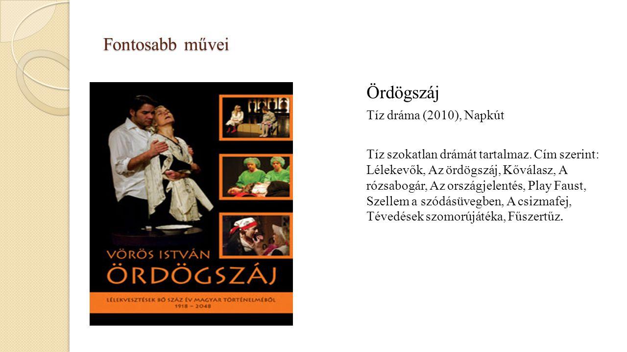 Fontosabb művei Ördögszáj Tíz dráma (2010), Napkút Tíz szokatlan drámát tartalmaz. Cím szerint: Lélekevők, Az ördögszáj, Kőválasz, A rózsabogár, Az or