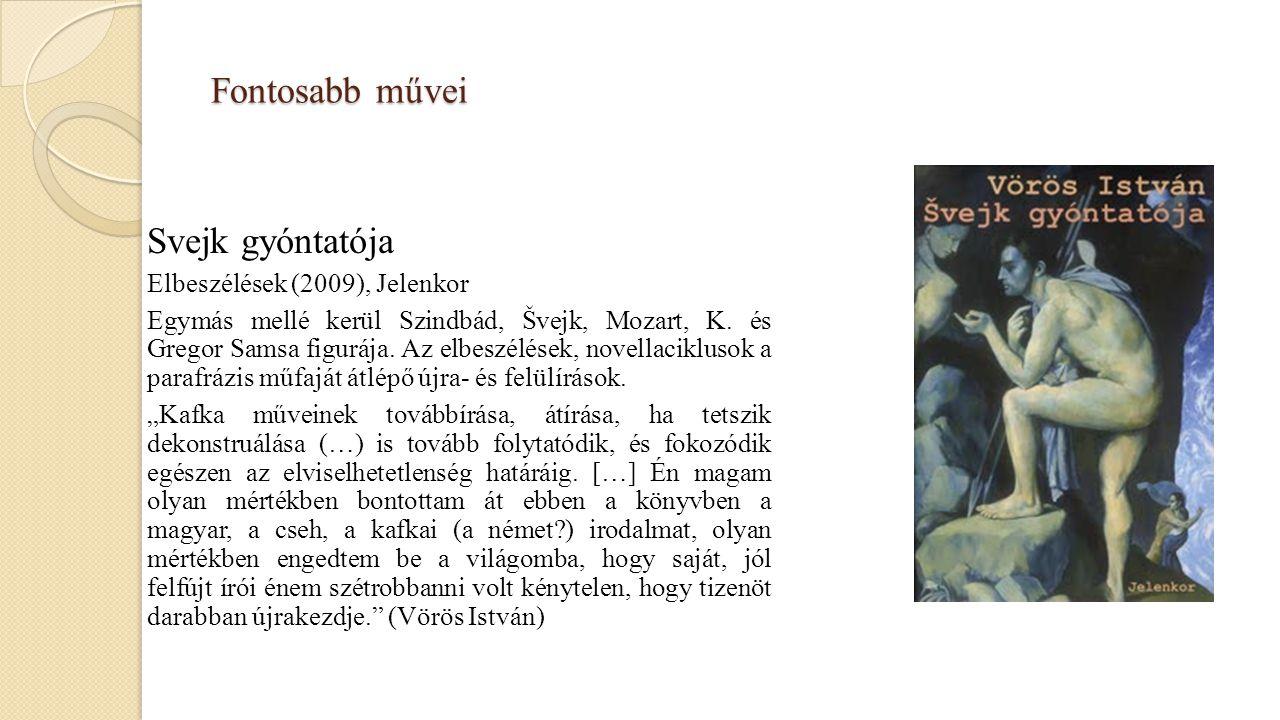 Fontosabb művei Svejk gyóntatója Elbeszélések (2009), Jelenkor Egymás mellé kerül Szindbád, Švejk, Mozart, K. és Gregor Samsa figurája. Az elbeszélése