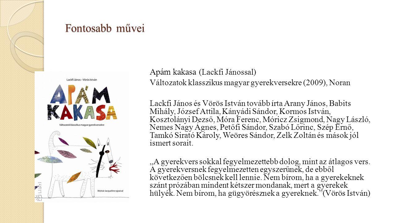 Fontosabb művei Apám kakasa (Lackfi Jánossal) Változatok klasszikus magyar gyerekversekre (2009), Noran Lackfi János és Vörös István tovább írta Arany