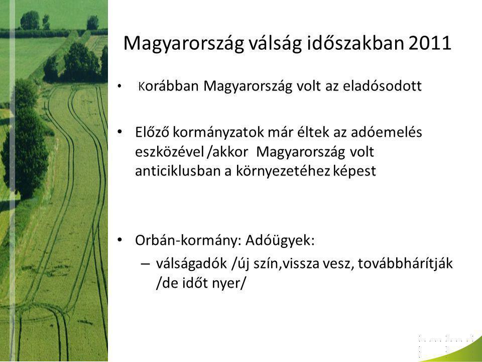 Magyarország válság időszakban 2011 K orábban Magyarország volt az eladósodott Előző kormányzatok már éltek az adóemelés eszközével /akkor Magyarország volt anticiklusban a környezetéhez képest Orbán-kormány: Adóügyek: – válságadók /új szín,vissza vesz, továbbhárítják /de időt nyer/