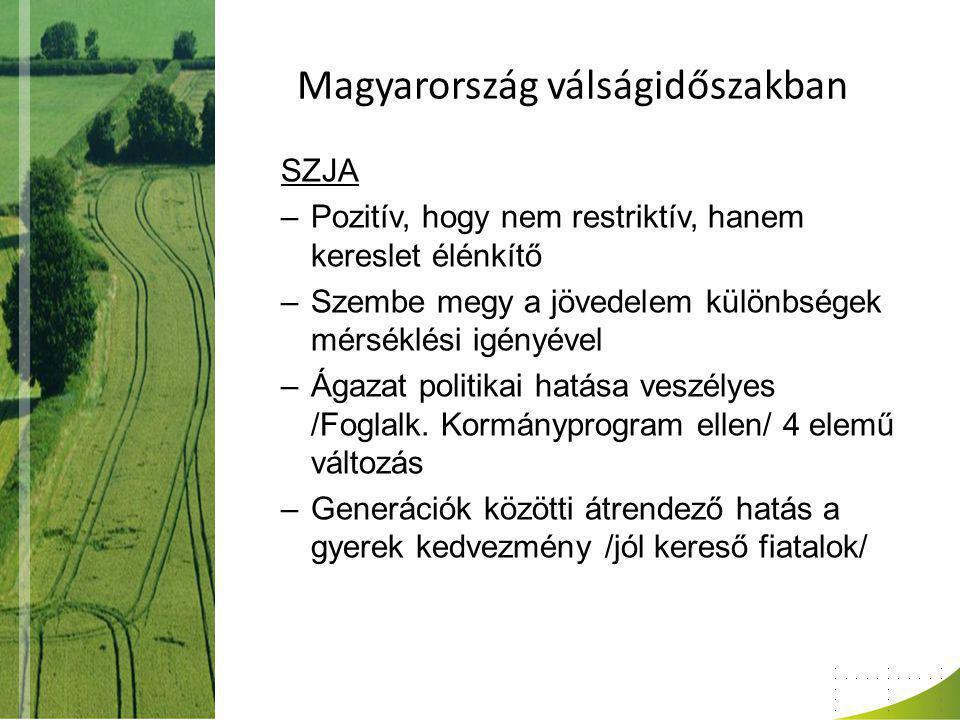 Magyarország válságidőszakban SZJA –Pozitív, hogy nem restriktív, hanem kereslet élénkítő –Szembe megy a jövedelem különbségek mérséklési igényével –Ágazat politikai hatása veszélyes /Foglalk.