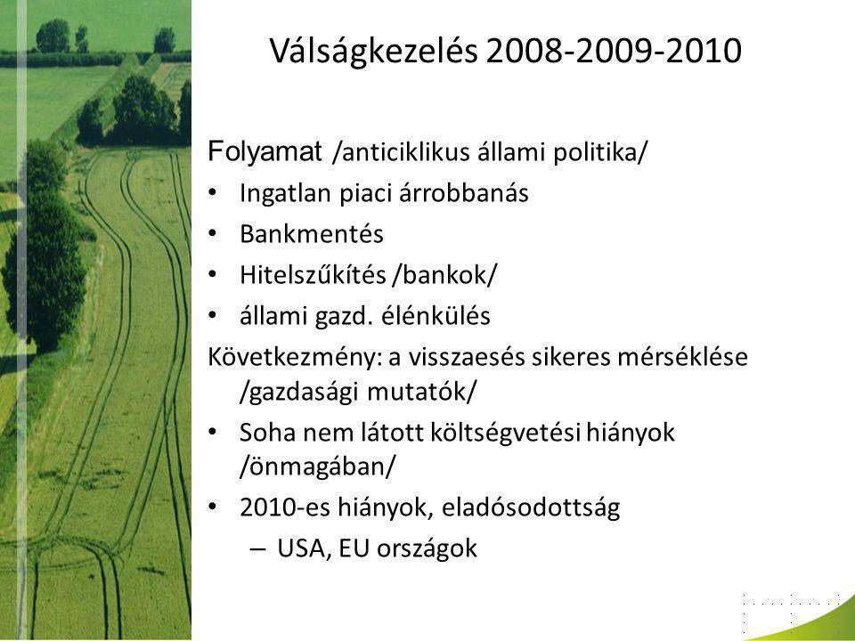 EU országok mutatói (EB) Ország GDP változása (%) Költségvetési hiány (GDP %-ban) Államadósság (GDP %-ban) 201020112012201020112012201020112012 Németország 3,72,90,8-4,3-1,383,281,781,2 Írország -0,41,1 -31,3-10,3-8,694,9108,1117,5 Görögország -3,5-5,5-2,8-10,6-8,9-7144,9162,8198,3 Franciaország 1,51,60,6-7,1-5,8-5,382,385,489,2 Olaszország 1,50,50,1-4,6-4-2,3118,4120,5 Spanyolorszá g -0,10,7 -9,3-6,6-5,96169,673,8 Portugália 1,4-1,9-3-9,8-5,8-4,593,3101,6111 Szlovákia 4,22,91,1-7,7-5,8-4,94144,547,5 Magyarország 1,31,40,5-4,23,6-2,881,375,976,5 Lengyelország 3,942,5-7,8-5,6-454,956,757,1 Csehország 2,71,80,7-4,8-4,1-3,837,639,941,9 Románia -1,91,72,1-6,9-4,9-3,7313435,8