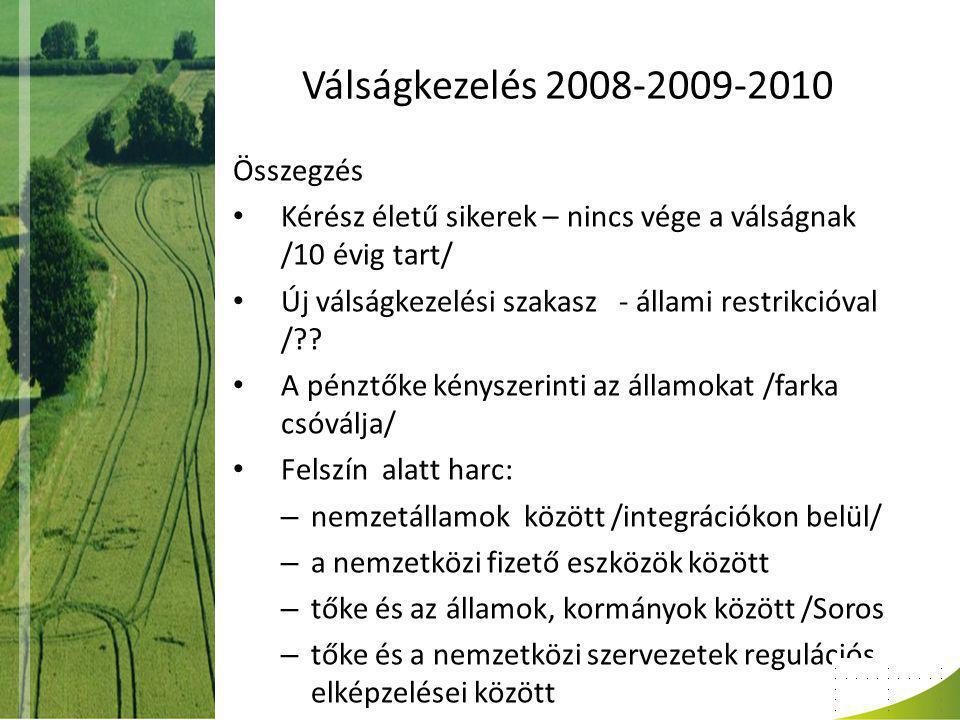 Válságkezelés 2008-2009-2010 Összegzés Kérész életű sikerek – nincs vége a válságnak /10 évig tart/ Új válságkezelési szakasz - állami restrikcióval / .