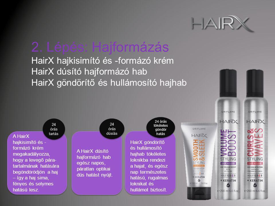 A HairX dúsító hajformázó spray optikailag dús hatást eredményez gyorsan szárad egész nap tart A HairX dúsító hajformázó spray optikailag dús hatást eredményez gyorsan szárad egész nap tart 24 órás dúsítás és tartás A HairX extra erős tartást nyújtó hajlakk akár 48 órán keresztül megtartja a frizura formáját, miközben a haj megőrzi természetes hatását.