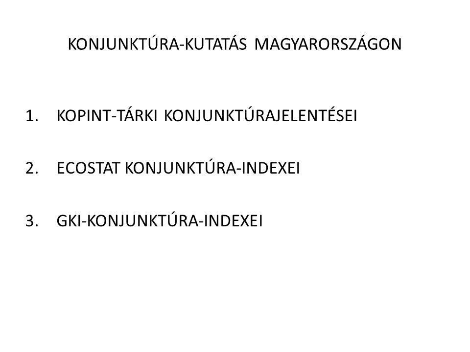 KONJUNKTÚRA-KUTATÁS MAGYARORSZÁGON 1.KOPINT-TÁRKI KONJUNKTÚRAJELENTÉSEI 2.ECOSTAT KONJUNKTÚRA-INDEXEI 3.GKI-KONJUNKTÚRA-INDEXEI