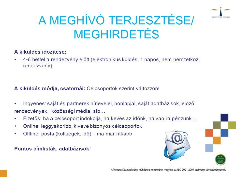 A MEGHÍVÓ TERJESZTÉSE/ MEGHIRDETÉS A kiküldés időzítése: 4-6 héttel a rendezvény előtt (elektronikus küldés, 1 napos, nem nemzetközi rendezvény) A kik