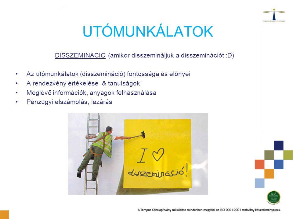 UTÓMUNKÁLATOK DISSZEMINÁCIÓ (amikor disszemináljuk a disszeminációt :D) Az utómunkálatok (disszemináció) fontossága és előnyei A rendezvény értékelése