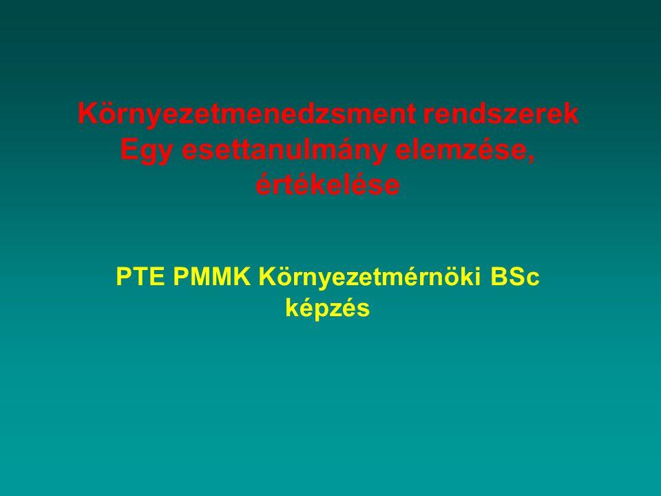 Környezetmenedzsment rendszerek Egy esettanulmány elemzése, értékelése PTE PMMK Környezetmérnöki BSc képzés