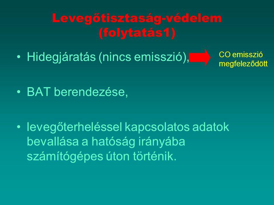 Levegőtisztaság-védelem (folytatás1) Hidegjáratás (nincs emisszió), BAT berendezése, levegőterheléssel kapcsolatos adatok bevallása a hatóság irányába