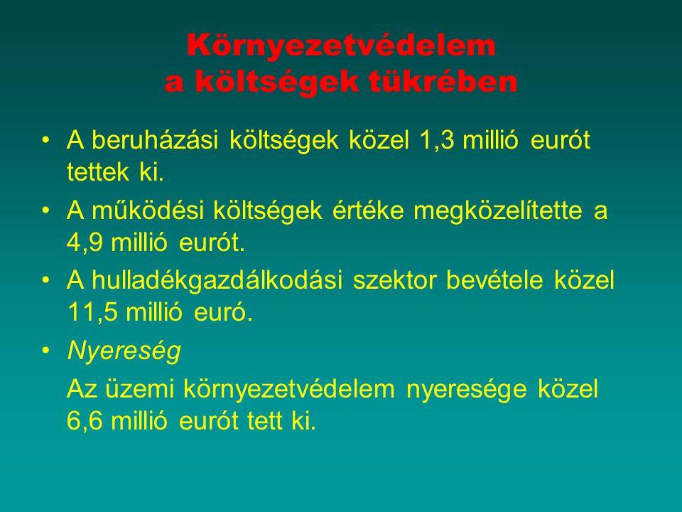 Környezetvédelem a költségek tükrében A beruházási költségek közel 1,3 millió eurót tettek ki. A működési költségek értéke megközelítette a 4,9 millió