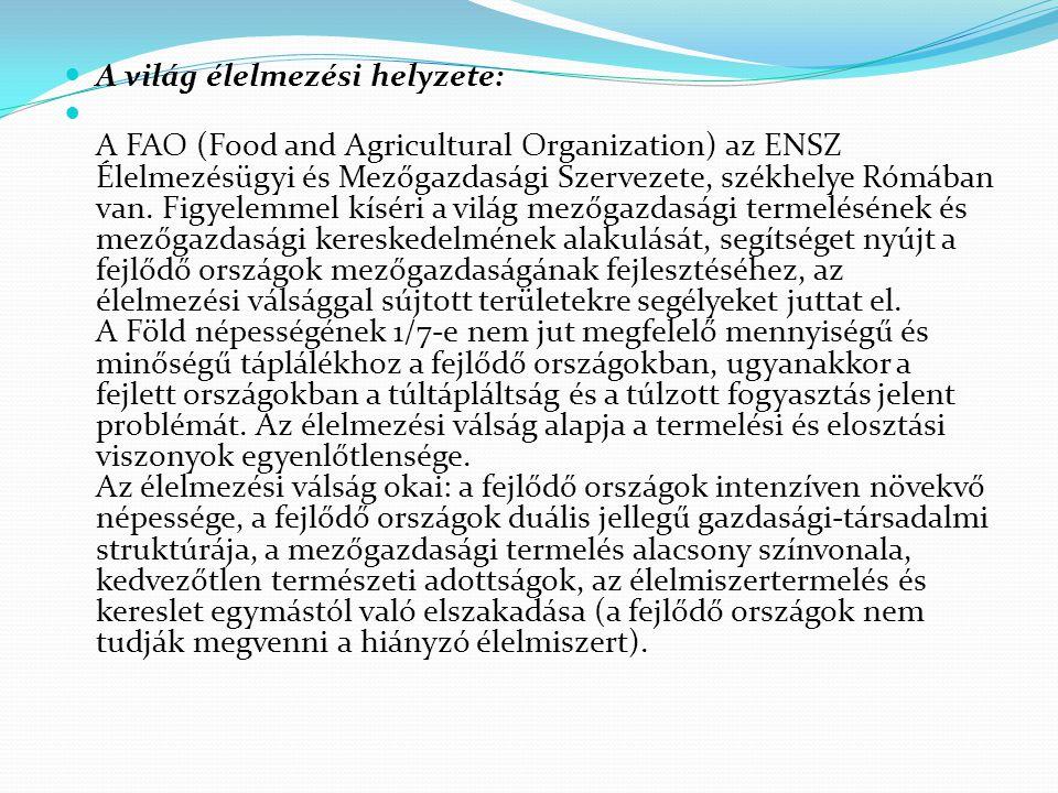 A világ élelmezési helyzete: A FAO (Food and Agricultural Organization) az ENSZ Élelmezésügyi és Mezőgazdasági Szervezete, székhelye Rómában van. Figy