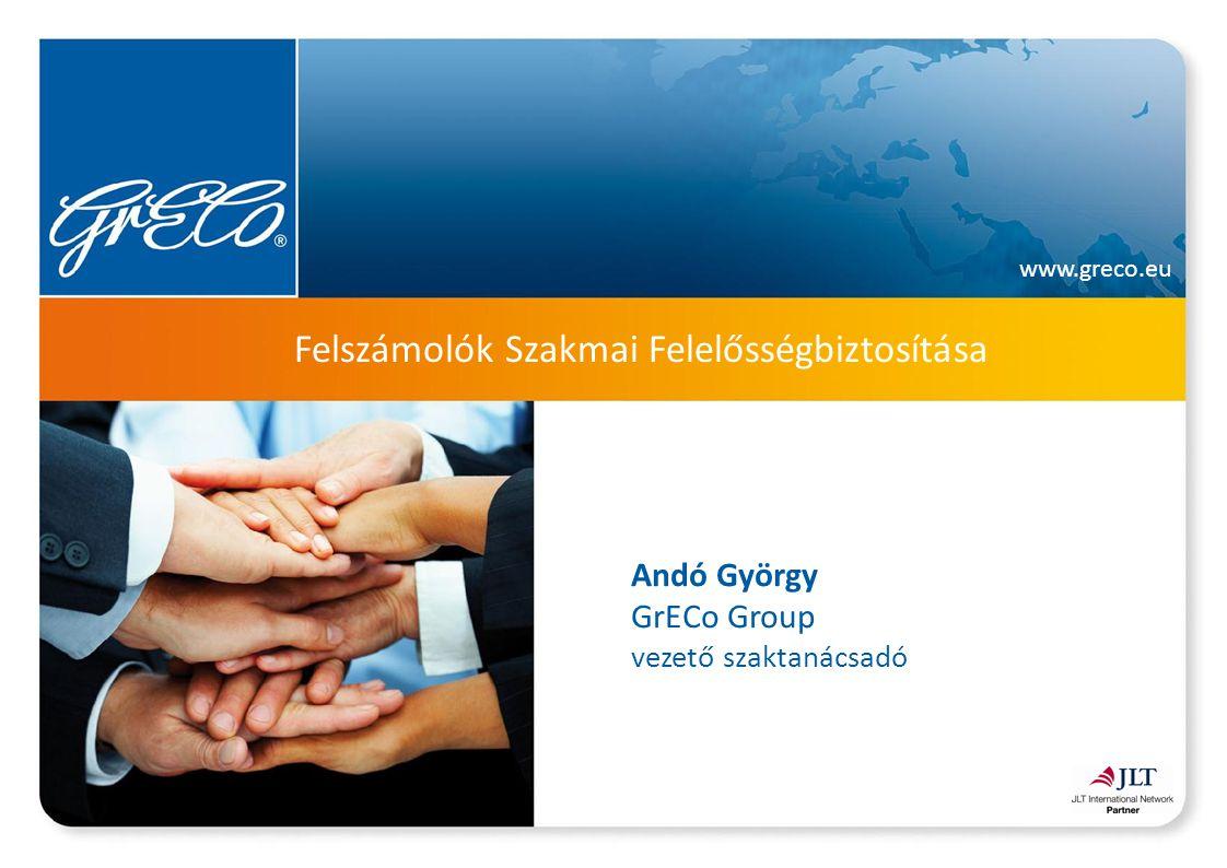 www.greco.eu A felszámolói szakmai felelősségbiztosítás előélete 90-es évek végén még 4-5 nagy biztosító (Generali, Allianz, Providencia, AXA), szerződések szétszórva Néhány nagyobb összegű kárigény és az esetek bonyolultsága miatt a biztosítók kivonultak a termékből és azóta sem tértek vissza A programban összegyűjtöttük a társaságokat és közösen, kifejezetten jól működő rendszert hoztunk létre 2002 végén az AXA tulajdonosváltás miatt 82 társaság szerződését felmondta, 5 év biztosított időszak elveszett, ez később több esetben is kárt okozott a korábbi biztosítottnak Tőkeerős, stabil és tapasztalt biztosító szükséges, hogy ne ismétlődhessen 2002.