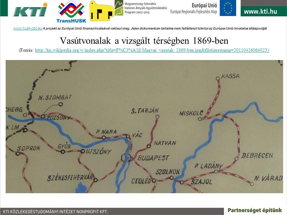 Vasútvonalak a vizsgált térségben 1869-ben (Forrás: http://hu.wikipedia.org/w/index.php?title=F%C3%A1jl:Magyar_vasutak_1869-ben.jpg&filetimestamp=2011