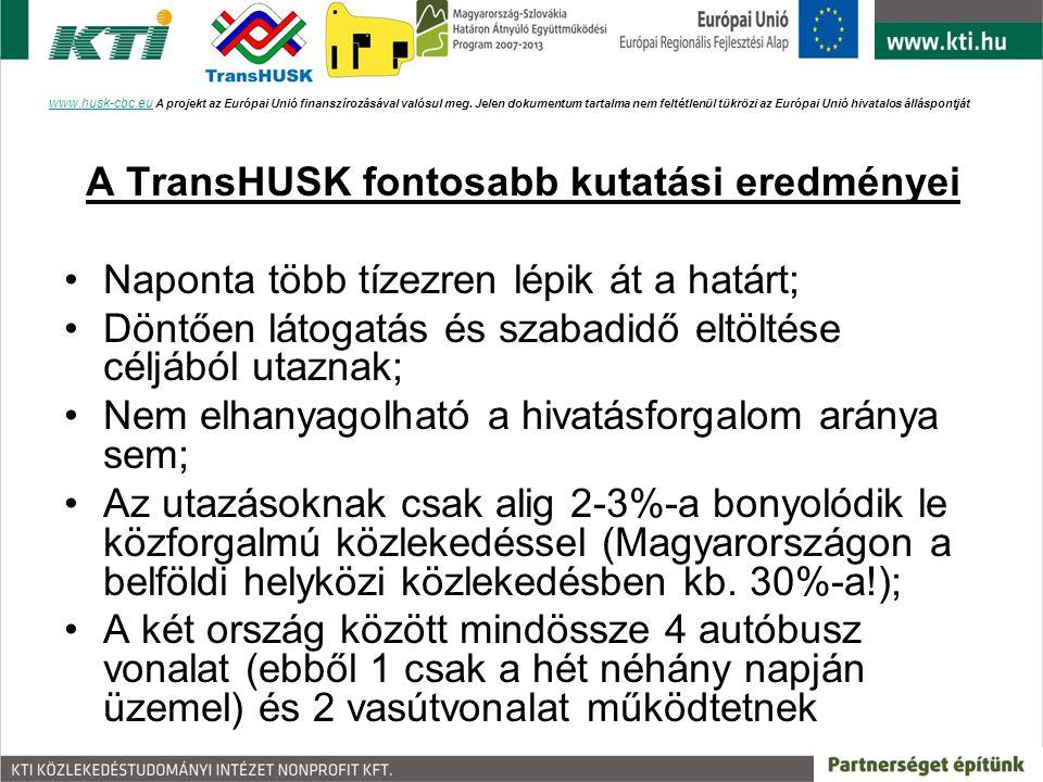 A TransHUSK fontosabb kutatási eredményei Naponta több tízezren lépik át a határt; Döntően látogatás és szabadidő eltöltése céljából utaznak; Nem elha