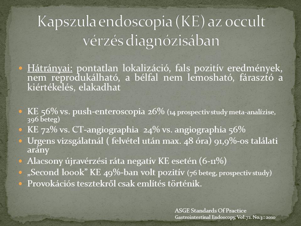 Hátrányai: pontatlan lokalizáció, fals pozitív eredmények, nem reprodukálható, a bélfal nem lemosható, fárasztó a kiértékelés, elakadhat KE 56% vs. pu
