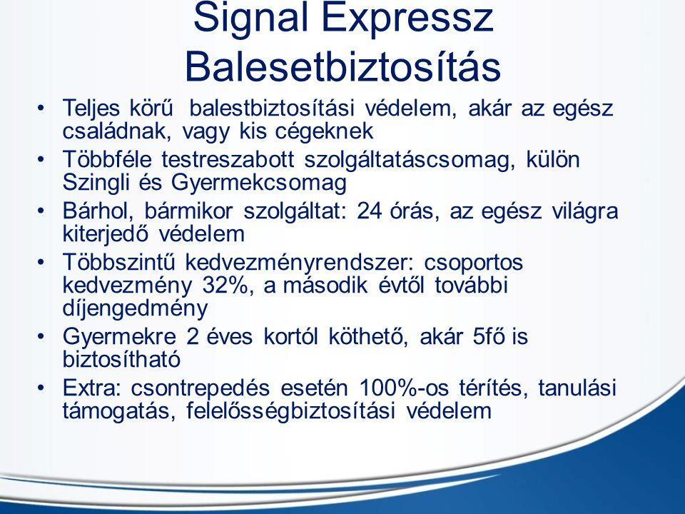 Signal Expressz Balesetbiztosítás Teljes körű balestbiztosítási védelem, akár az egész családnak, vagy kis cégeknek Többféle testreszabott szolgáltatá